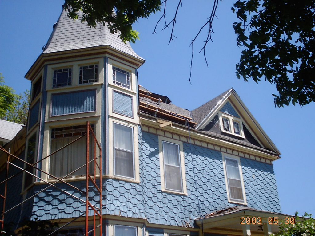 Main house roof new shingles complete south side our for Victorian shingles